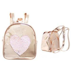 Girls Disco Vibe Pink Heart Mini Backpack